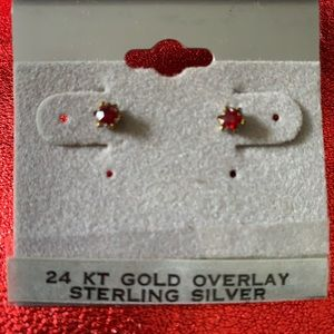24k gold over sterling silver red earrings